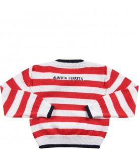 Red and white babygirl sweater with blue ''I love you'' writing