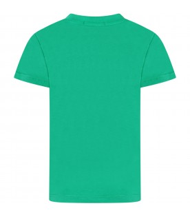 Green kids T-shirt with white logo and writing