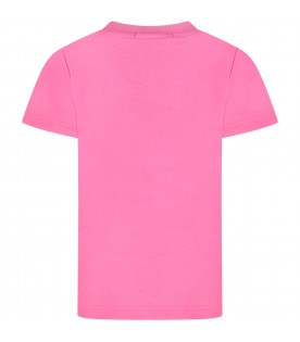 Fuchsia girl T-shirt with black logo and writing