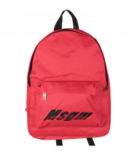 Red kids backpack with black logo