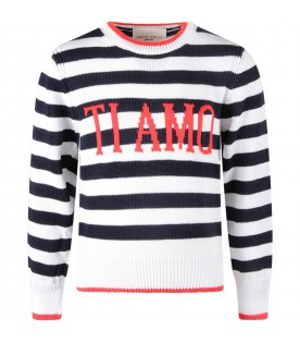 Blue and white sweater with red ''Ti amo'' writing for kid