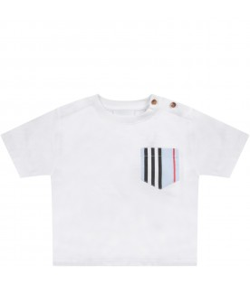 White t-shirt with breast pcoket for baby boy