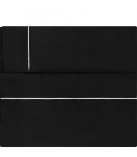 Black blanket with white logo for baby