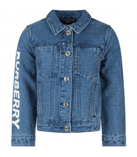 Light blue kids jacket with white logo
