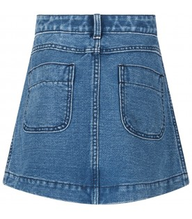 Denim skirt with logo for girl