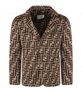 Light brown jacket with double FF for boy