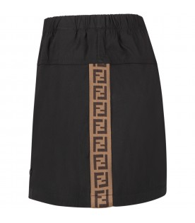 Black skirt with double FF for girl