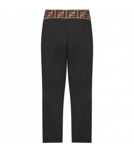 Black pants with double FF for girl