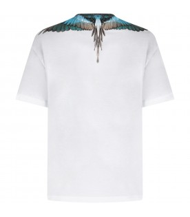 White t-shirt with turquoise wings for kids