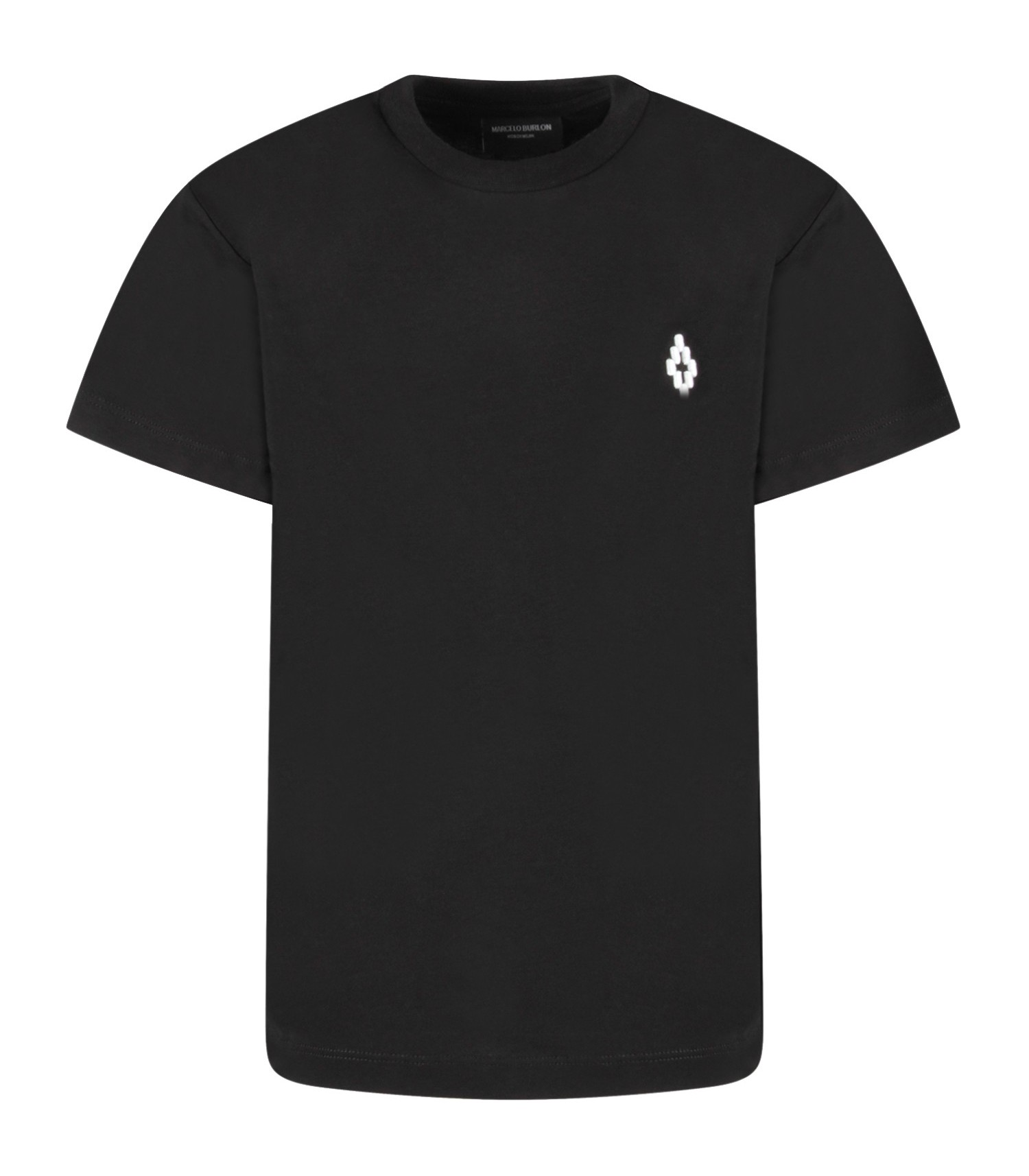 Marcelo Burlon Kids Black t-shirt with white cross for kids