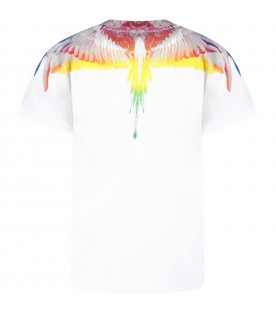 White t-shirts with colorful wings for kids