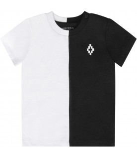 Bicolor t-shirt with cross for baby boy