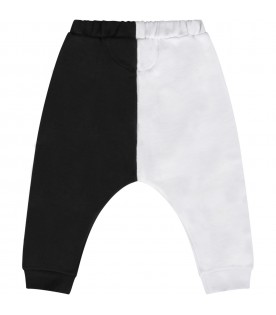 Bicolor sweatpants with cross for baby boy