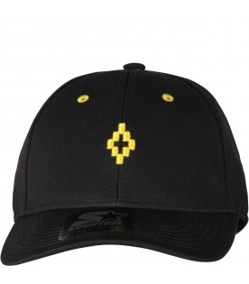 Black Starter hat with yellow cross for kids