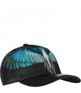 Black Starter hat with turquoise wings for kids