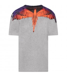 Grey t-shirt with orange and violet wings for kids
