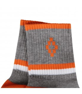 Grey socks with orange cross for kids