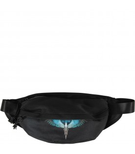 Black bumbag with turquoise wings