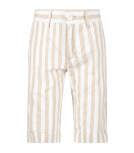 Beige and white boy short with logo