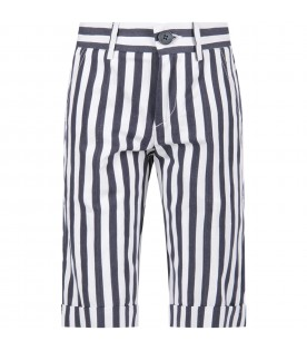Blue and white boy short with logo