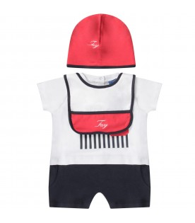 Blue, white and red  babyboy set with logo