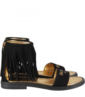 Black girl sandals with gold logo