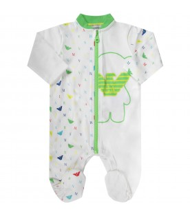 White babyboy babygrow with colorful eagles