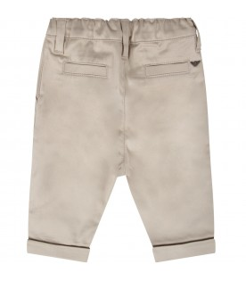 Beige babyboy pants with metallic eagle