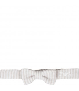 Beige and white babyboy bow-tie