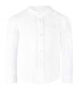 White shirt for boy with logo