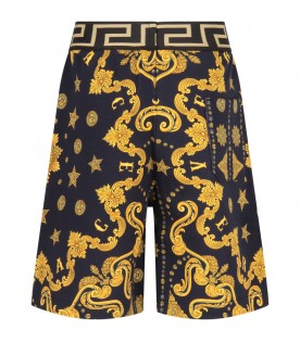Blue boy short with gold iconic medusa
