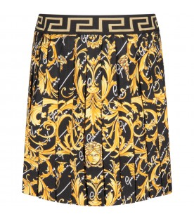 Black girl skirt with gold iconic medusa