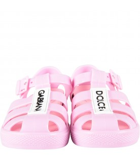 Pink sandals for girl with black logo