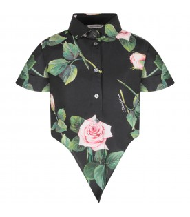 Black skirt for girl with pink roses
