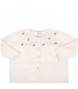 Pink babygirl cardigan with red cherries