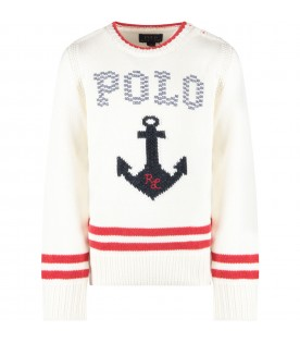 Ivory kids sweater with blue anchor