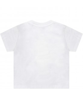 White babyboy T-shirt with colorful Teddy Bear