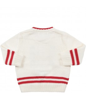 Ivory babykids sweater with blue anchor