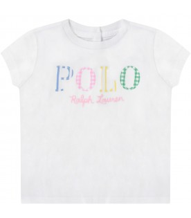 White babygirl T-shirt with colorful logo