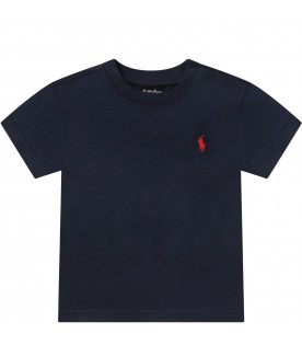 Blue babyboy T-shirt with red iconic pony