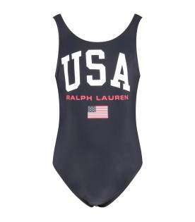 Blue girl swimsuit with red logo