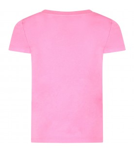 Fuchsia girl T-shirt with striped logo