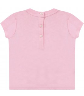 Pink babygirl T-shirt with colorful logo