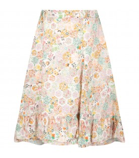 White girl skirt with colorful print