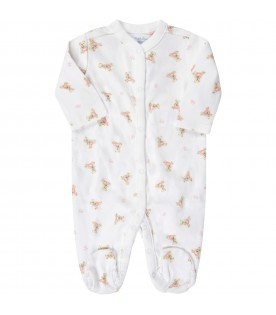 White babygrow for baby girl with pink logo and Teddy Bear