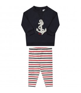 Multicolor babygirl suit with anchor