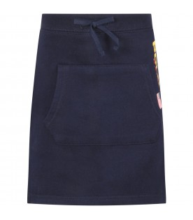 Blue skirt for girl with red logo