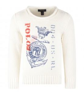 Ivory sweater for boy with red logo