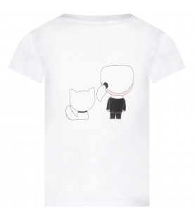 White girl T-shirt with Choupette and Karl Lagerfeld