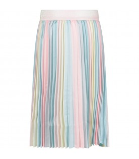 Multicolor skirt for girl with pleated